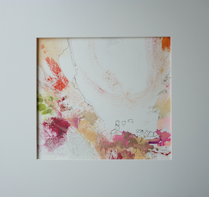 "<b>#10 - Unframed Mixed Media Abstract – Matted Size 19"" x 18"" (3½"" mat) - $350</b><br/>Image Size 12"" x 11""<br/>Unframed<br/>Sold<br/>"