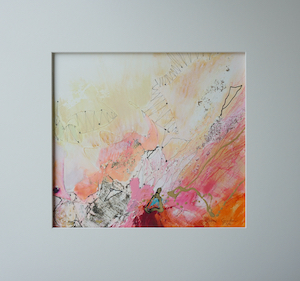 "<b>#11 - Unframed Mixed Media Abstract – Matted Size 19"" x 18"" (3½"" mat) - $350</b><br/>Image Size 12"" x 11""<br/>Unframed<br/><br/>"