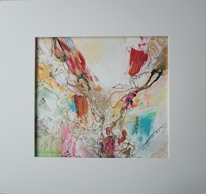 "<b>#13 - Unframed Mixed Media Abstract – Matted Size 19"" x 18"" (3½"" mat) - $350</b><br/>Image Size 12"" x 11""<br/>Unframed<br/><br/>"