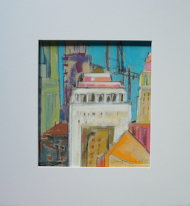 "<b>#15 - Unframed Pastel Cityscape  – Matted Size 14"" x 15"" (3"" mat) - $250</b><br/>Image Size 8"" x 9""<br/>Unframed<br/><br/>"