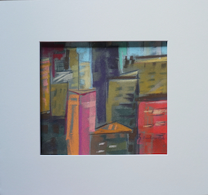 "<b>#16 - Unframed Pastel Cityscape – Matted Size 15"" x 14"" (3"" mat) - $250</b><br/>Image Size 9"" x 8""<br/>Unframed<br/><br/>"