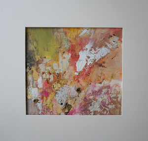 "<b>#16 - Unframed Mixed Media Abstract – Matted Size 19"" x 18"" (3½"" mat) - $350</b><br/>Image Size 12"" x 11""<br/>Unframed<br/><br/>"
