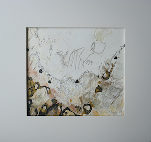 "<b>#17 - Unframed Mixed Media Abstract – Matted Size 19"" x 18"" (3½"" mat) - $350</b><br/>Image Size 12"" x 11""<br/>Unframed<br/><br/>"