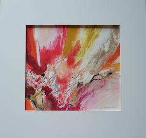 "<b>#34 - Unframed Mixed Media Abstract – Matted Size 19"" x 18"" (3½"" mat) - $350</b><br/>Image Size 12"" x 11""<br/>Unframed<br/><br/>"