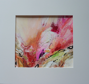 "<b>#35 - Unframed Mixed Media Abstract – Matted Size 19"" x 18"" (3½"" mat) - $350</b><br/>Image Size 12"" x 11""<br/>Unframed<br/>Sold<br/>"