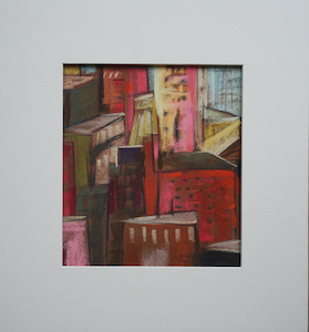 "<b>#4 - Unframed Pastel Cityscape  – Matted Size 14"" x 15"" (3"" mat) - $250</b><br/>Image Size 8"" x 9""<br/>Unframed<br/><br/>"