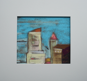 "<b>#5 - Unframed Pastel Cityscape  – Matted Size 15"" x 14"" (3"" mat) - $250</b><br/>Image Size 9"" x 8""<br/>Unframed<br/><br/>"