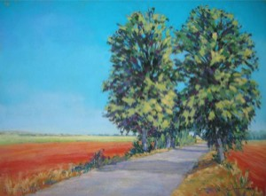 <b>Avenue of Trees, Champagne, France IV</b><br/>24 x 18<br/>Sold<br/>Honorable Mention, Mystic, CT Annual Art Festival - 2006;Finalist (landscape category), Annual Artist's Magazine Art Competition - 2005