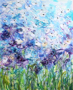 <b>Blue and Purple Flower Series 1</b><br/>22 x 30<br/>Sold<br/>