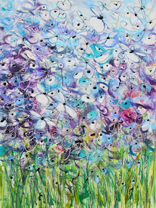 <b>Blue and Purple Flower Series 3</b><br/>22 x 30<br/><br/>