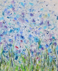 <b>Blue Flower Series 5</b><br/>22 x 30<br/>Sold<br/>