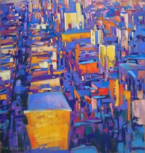 <b>City Sunset</b><br/>18 x 19.5<br/>Sold<br/>Mabon J. Childs Memorial Award;The Arts Guild of Old Forge, NY - 2006