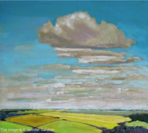 <b>Clouds and Fields II</b><br/>20 x 18<br/>Sold<br/>