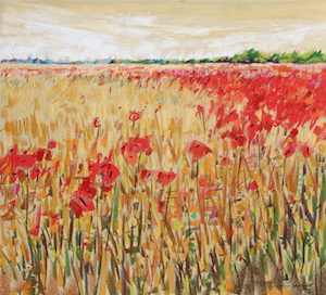 <b>Corn and Poppies XIV</b><br/>20 x 18<br/>Sold<br/>