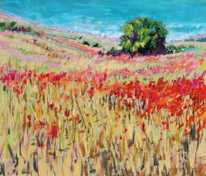 <b>Corn and Poppies XVIII</b><br/>20 x 18<br/>Sold<br/>
