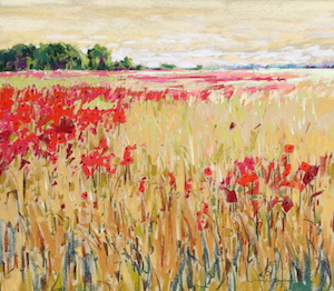 <b>Corn and Poppies XVII</b><br/>20 x 18<br/>Sold<br/>