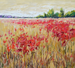 <b>Corn and Poppies XXII</b><br/>20 x 18<br/>Sold<br/>