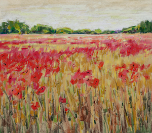 <b>Corn and Poppies XXIV</b><br/>20 x 18<br/>Sold<br/>