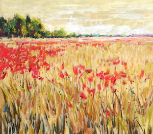 <b>Corn and Poppies XXI</b><br/>20 x 18<br/>Sold<br/>