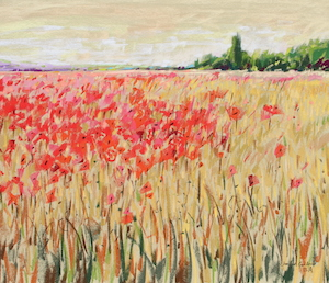 <b>Countryside Poppies 4</b><br/>24 x 18<br/>Sold<br/>