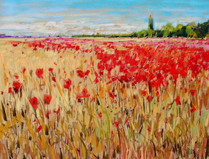 <b>French Poppies Afternoon Light</b><br/>24 x 18<br/>Sold<br/>