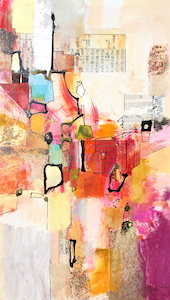 <b>Magenta and Orange with Collage 1</b><br/>16 x 28<br/><br/>