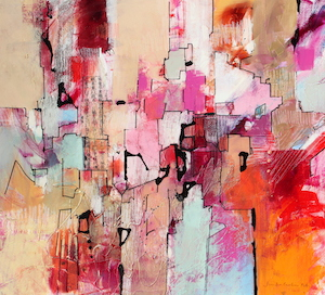 <b>Magenta and Orange with Collage 2</b><br/>22 x 20<br/><br/>