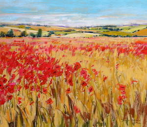 <b>Poppies and Rolling Hills, England V</b><br/>20 x 18<br/><br/>
