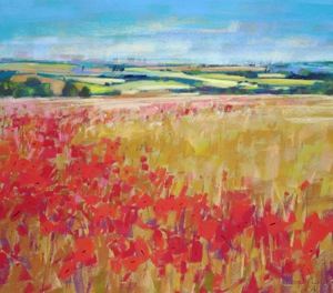 <b>Poppies and Rolling Hills, England</b><br/>20 x 18<br/>Sold<br/>
