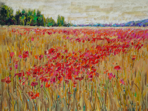 <b>Poppies, France 3</b><br/>Image Size 24 x 18<br/>Framed Size 32 x 26<br/><br/>