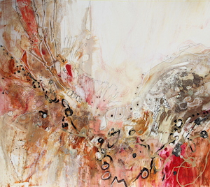 <b>Red and Gold Leaf 3</b><br/>20 x 18<br/>Sold<br/>