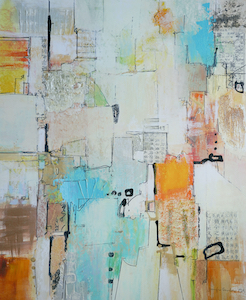<b>Sea Foam and Orange with Collage and Gold Leaf 1</b><br/>20 x 22<br/><br/>