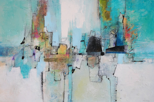 <b>Teal and Blue with Collage 1 (Acrylic)</b><br/>Image Size 36 x 24<br/>Gallery Wrapped Canvas<br/>Sold<br/>